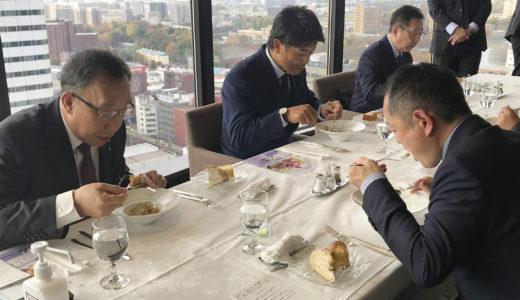 北海道日本ハムファイターズの稲葉篤紀SCOも参加!厚真町の食材を食べて応援する試食会を開催